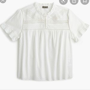 Point Sur (J. Crew) Ruffle Sleeve Embroidered Top